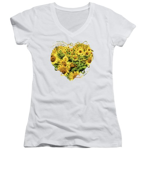 Field Of Sunflowers Women's V-Neck