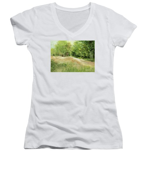 Woodland Trees And Dirt Road Women's V-Neck