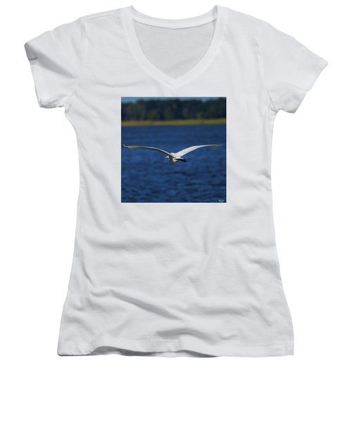 Flight Of The Egret Women's V-Neck