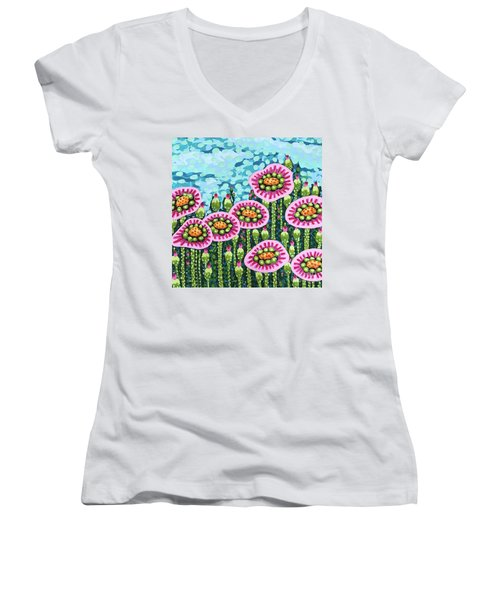Floral Whimsy 8 Women's V-Neck