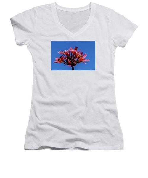 Flowers In Clear Blue Sky Women's V-Neck