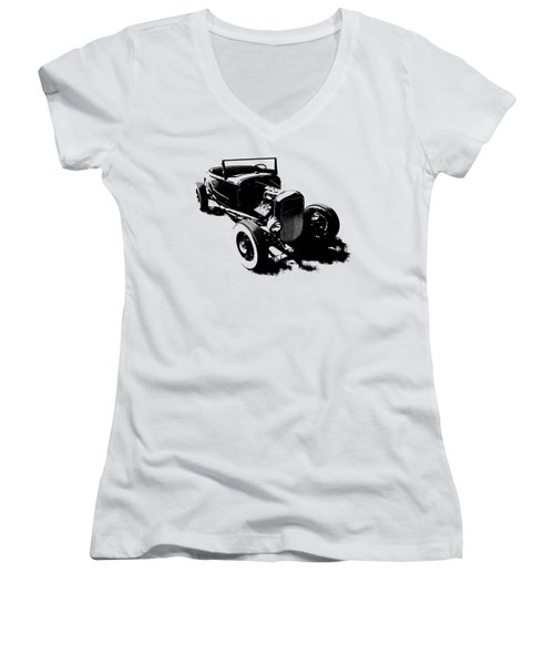 Ford Flathead Roadster Two Blk Women's V-Neck