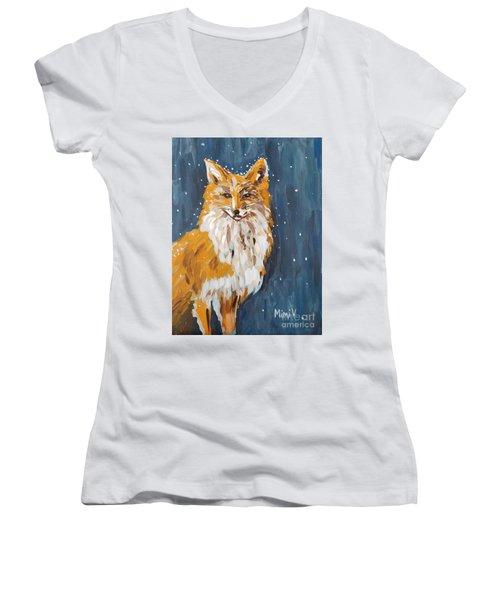 Fox Winter Night Women's V-Neck