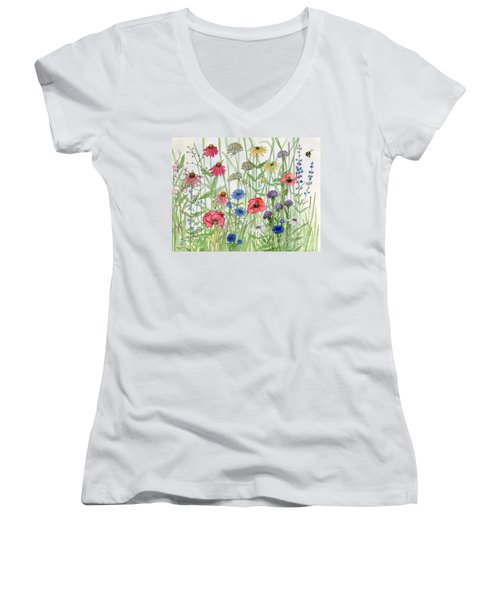 Garden Flower Medley Watercolor Women's V-Neck
