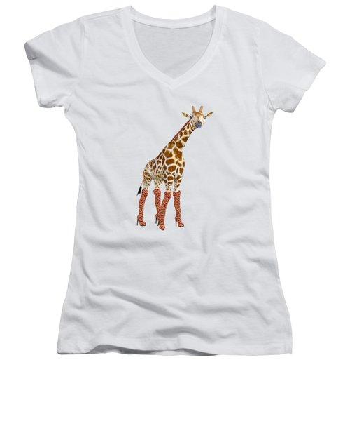 Giraffe Funny Pose Women's V-Neck