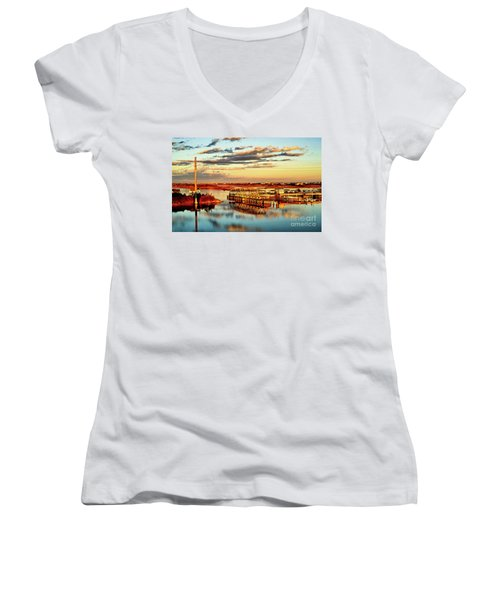 Golden Hour Bridge Women's V-Neck