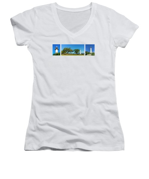 Grand Old Lighthouse Biloxi Ms Collage A1e Women's V-Neck