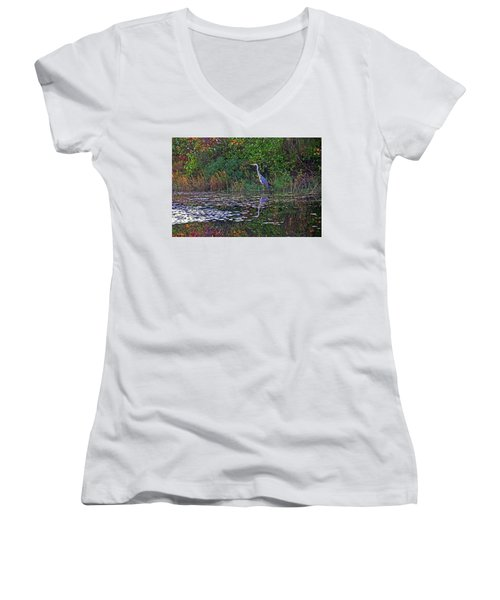 Great Blue Heron In Autumn Women's V-Neck