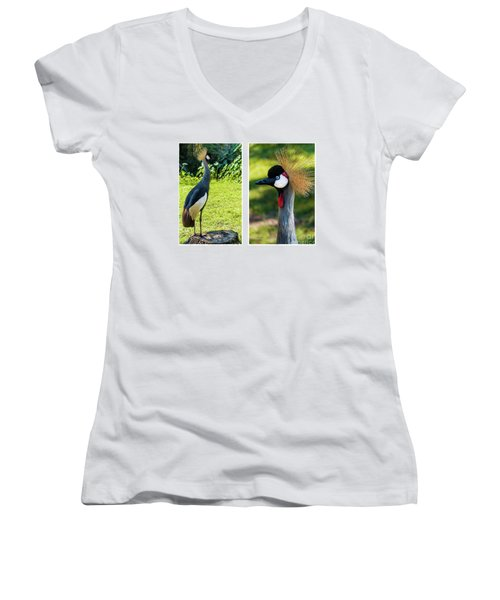 Grey Crowned Crane Gulf Shores Al Collage 10 Diptych Women's V-Neck