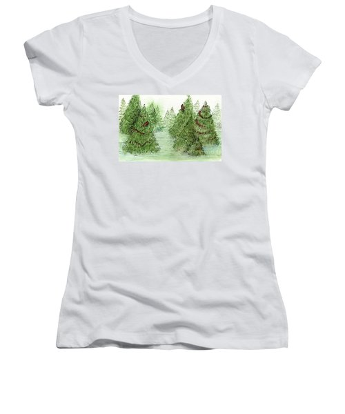 Holiday Trees Woodland Landscape Illustration Women's V-Neck