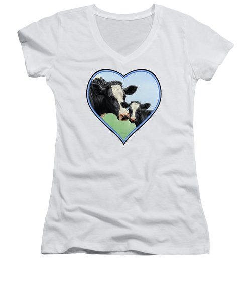 Holstein Cow And Calf Women's V-Neck (Athletic Fit)