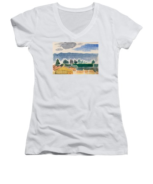 Houses, Trees, Mountains, Clouds Women's V-Neck