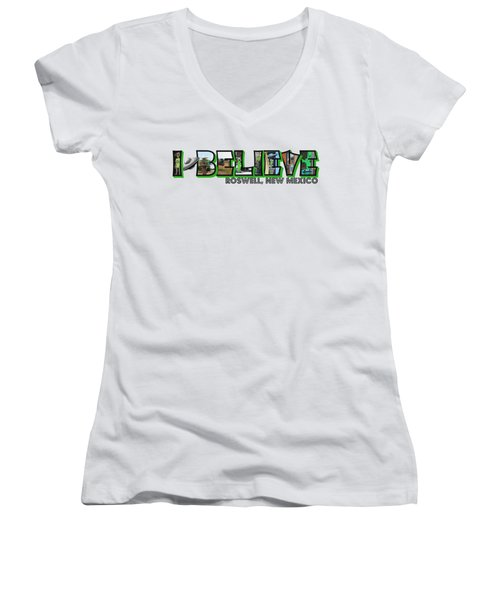 I Believe Roswell New Mexico Big Letter Women's V-Neck