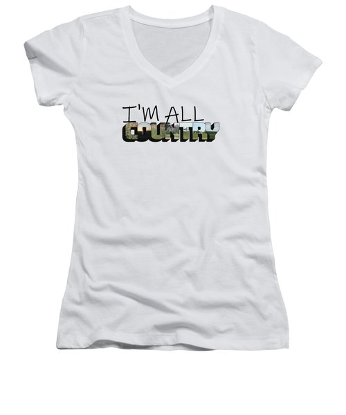 I'm All Country Big Letter Women's V-Neck