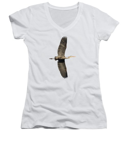 Isolated Great Blue Heron 2018-1 Women's V-Neck