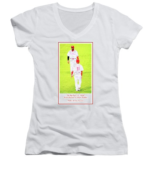 J Roll And The Big Piece, Ryan And Rollins, Phillies Greats Women's V-Neck