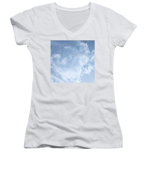 Women's V-Neck (Athletic Fit) featuring the photograph Lace Agate Sky by Judy Kennedy