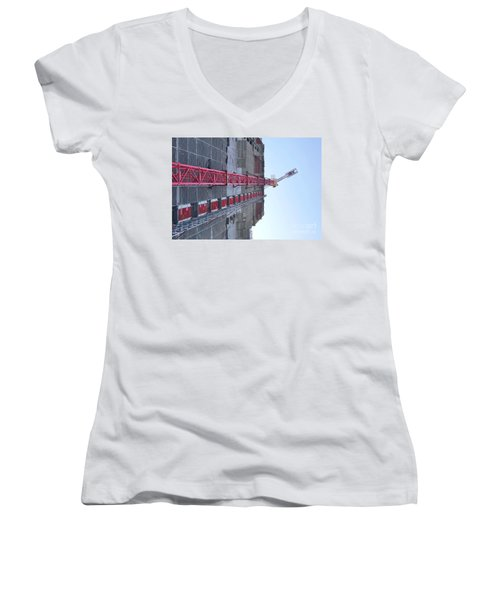 Large Scale Construction Site With Crane Women's V-Neck