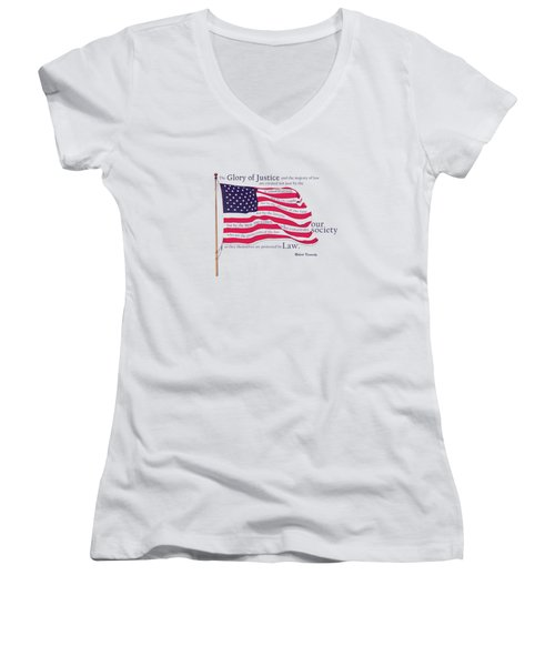 Law And Society American Flag With Robert Kennedy Quote Women's V-Neck