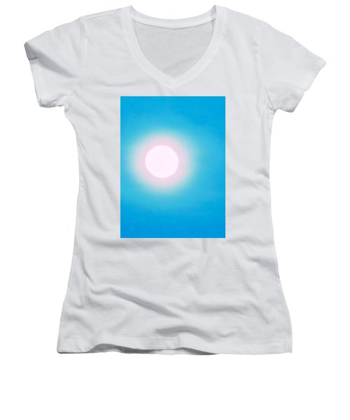 Women's V-Neck (Athletic Fit) featuring the photograph Leo Blue Moon In Turquoise by Judy Kennedy