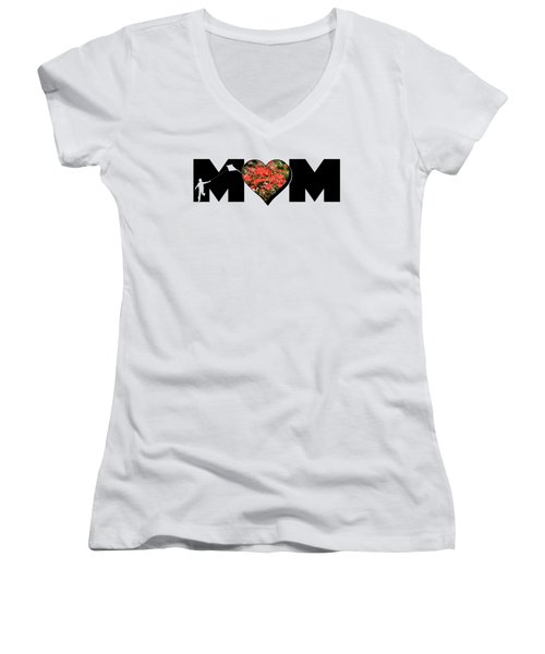 Little Boy Silhouette In Mom Big Letter With Cluster Of Red Roses In Heart Women's V-Neck