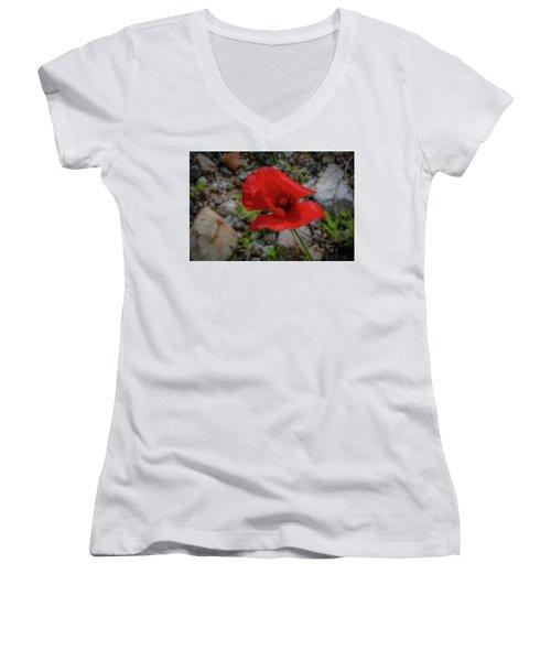 Lone Red Flower Women's V-Neck