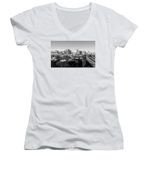 Los Angeles Skyline Looking East 2.9.19 - Black And White Women's V-Neck
