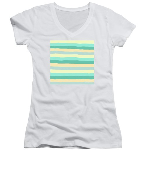 lumpy or bumpy lines abstract and summer colorful - QAB271 Women's V-Neck