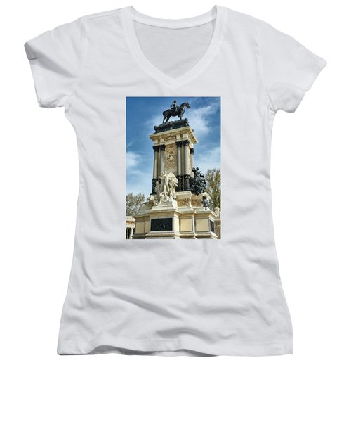 Monument To King Alfonso Xii At Retiro Park In Madrid, Spain Women's V-Neck