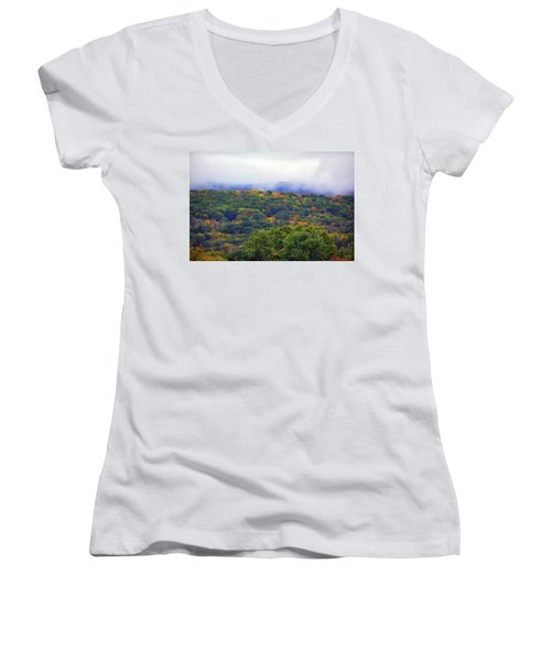 Women's V-Neck (Athletic Fit) featuring the photograph Mount Greylock In The Clouds by Raymond Salani III