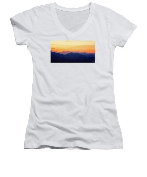 Mountain Light And Silhouette  Women's V-Neck