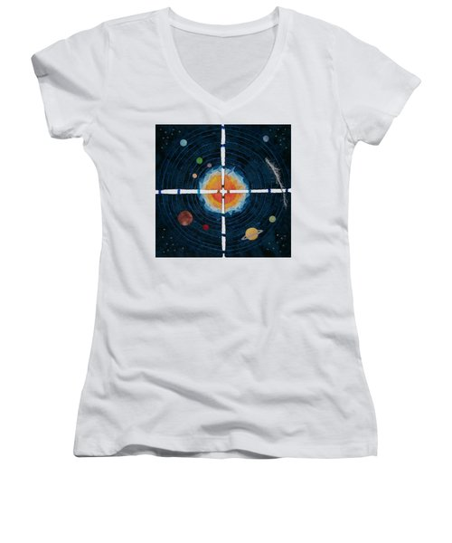 My Very Educated Mother  Just Said Uh-oh, No Pluto Women's V-Neck