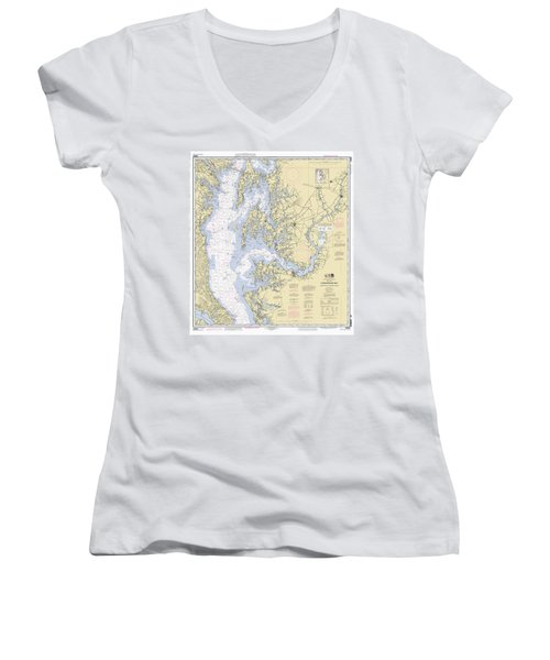 Chesapeake Bay, Cove Point To Sandy Point Nautical Chart 12263 Women's V-Neck