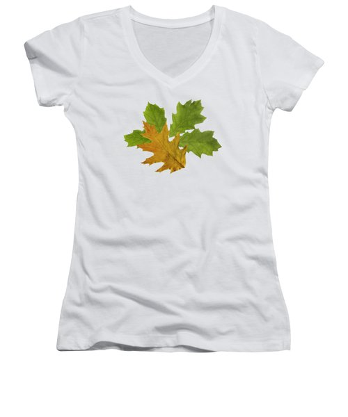 Oak Leaves Pattern Women's V-Neck