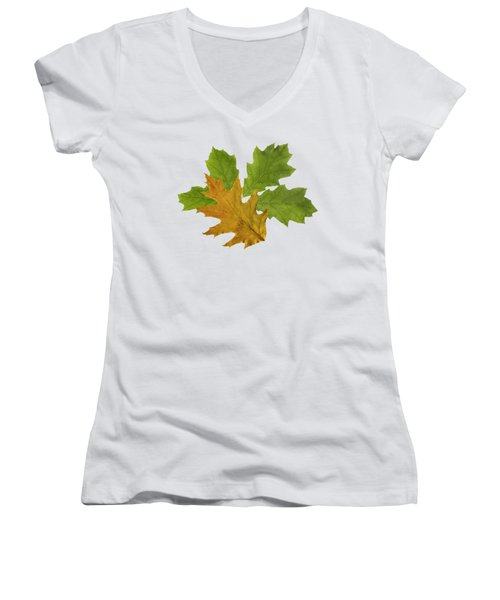 Oak Leaves Patern Women's V-Neck