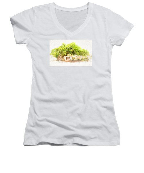 Old Leaning Tree At Sandy Hill  Anguilla Women's V-Neck