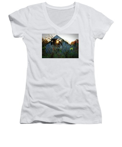 Old Barn At Sunset Women's V-Neck