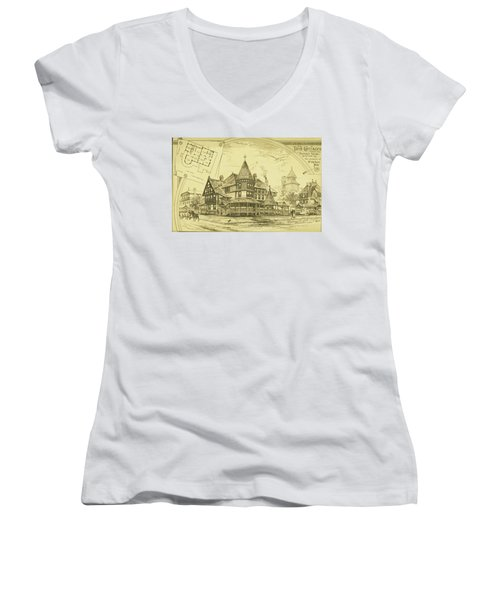 Pair Of Twin Cottages, Hastings Square, Spring Lake, Nj Women's V-Neck