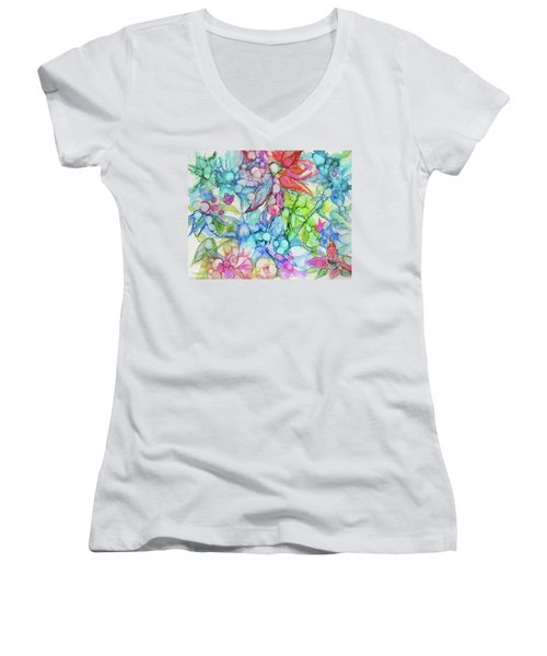 Pastel Flowers - Alcohol Ink Women's V-Neck