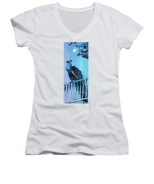 Peacock On A Fence Women's V-Neck
