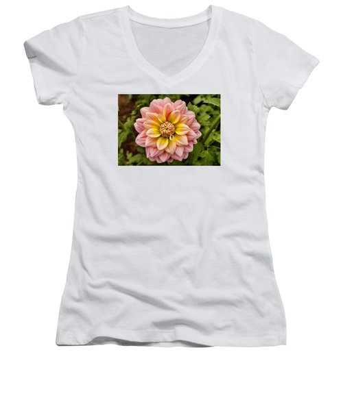 Pink And Yellow Women's V-Neck