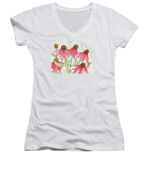 Pink Coneflowers Gather Watercolor Women's V-Neck