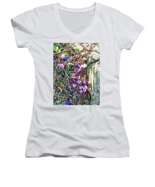 Pink Cyclamen With Fallen Damsons Women's V-Neck (Athletic Fit)