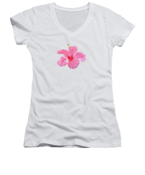 Pink Hibiscus Women's V-Neck