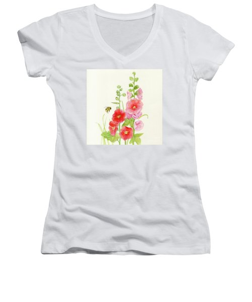 Pink Hollyhock Watercolor Women's V-Neck