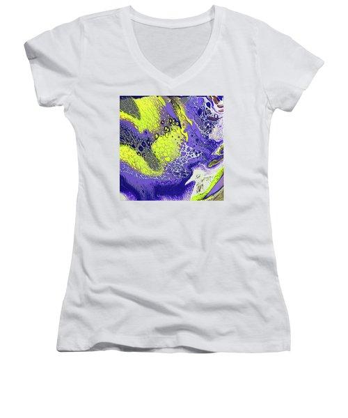 Purple And Yellow Women's V-Neck