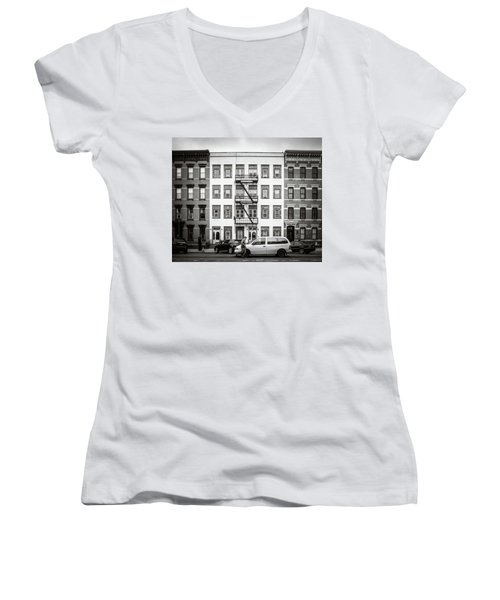 Women's V-Neck featuring the photograph quick delivery BW by Steve Stanger