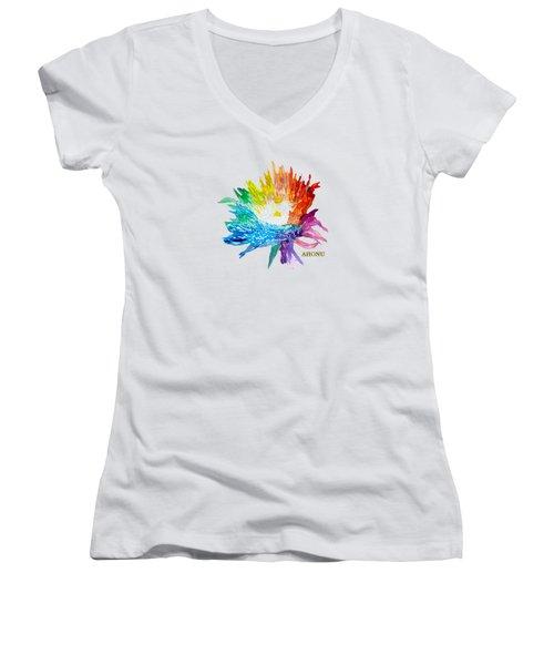 Rainbow Chrysanthemum Women's V-Neck