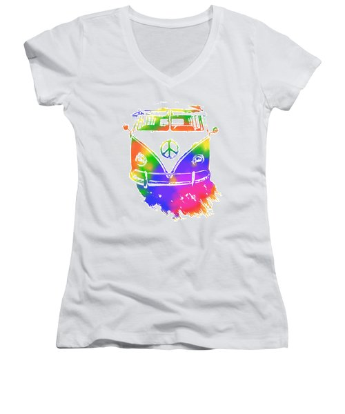 Rainbow Colored Peace Bus Women's V-Neck