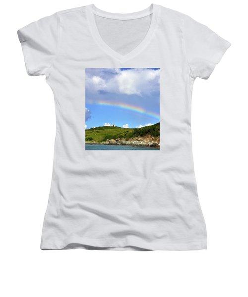 Rainbow Over Buck Island Lighthouse Women's V-Neck